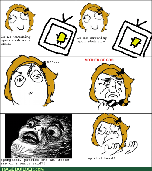 childhood Rage Comics raisin face SpongeBob SquarePants