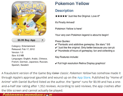 App dumb fake IRL news pokemon yellow why do they do this - 5867870720