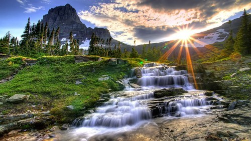 getaways,mountain,sunrise,unknown location,wallpaper,wallpaper of the day,water,waterfall,wilderness