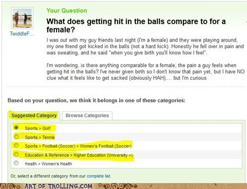 balls category suggestion that sounds naughty Yahoo Answer Fails - 5868066048