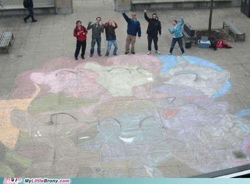 amazing art chalk IRL mane six