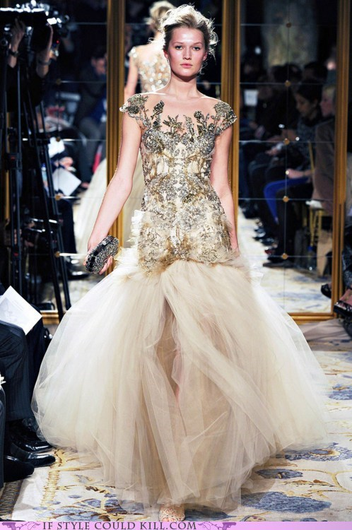 cool accessories dress gown marchesa runway - 5868632320