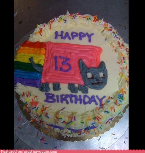 13,birthday,cake,epicute,frosting,nyancat