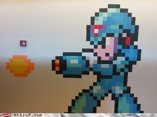 get any work done,megaman,post-it art