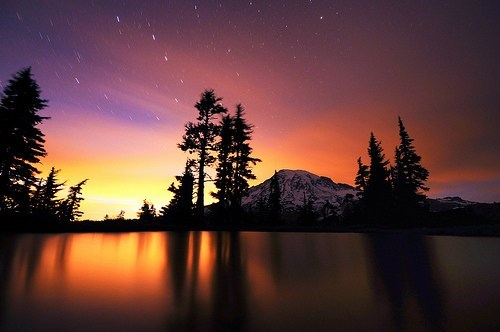getaways mount rainier mt rainier night night photography north america sunset united states washington Washington state