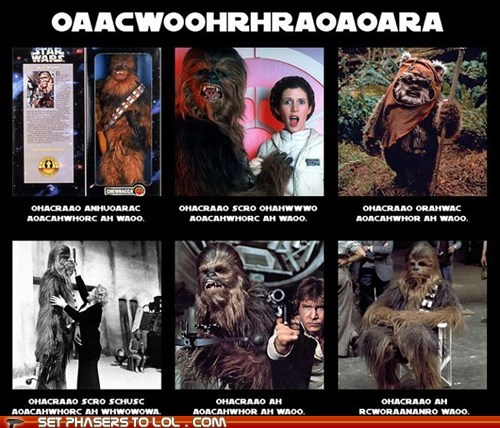 carrie fisher,chewbacca,growling,Han Solo,Harrison Ford,language,Princess Leia,star wars,Wookies