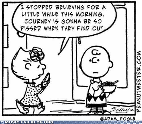 charlie brown dont-stop-believin Hall of Fame journey peanuts tweet - 5870932480