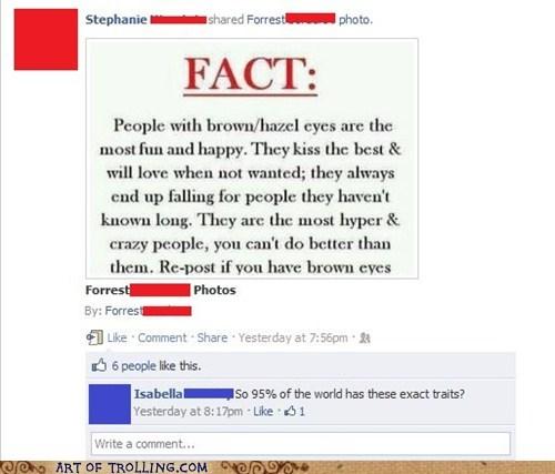 brown eyes dumb facebook fact - 5871051776