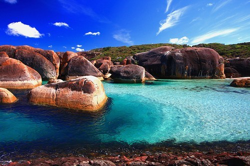 australia,bay,blue,elephant rocks,geographic formation,getaways,ocean,rocks,water