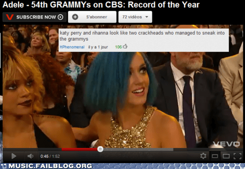 comment fashion Grammys katy perry rhianna youtube