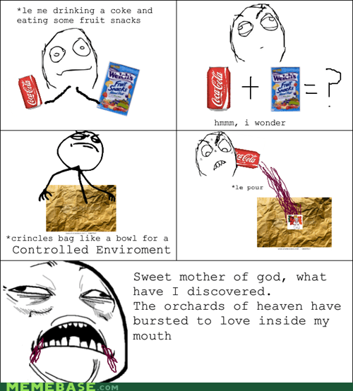 fruit snacks,Rage Comics,soda,sweet jesus have mercy