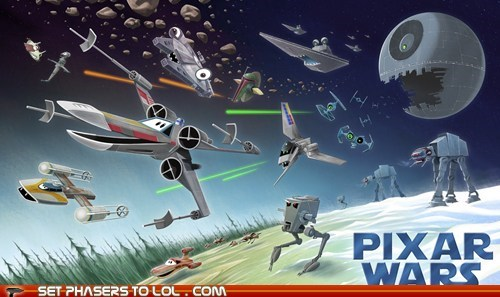 ATAT,Death Star,eyes,living,millennium falcon,pixar,ships,speeder,star wars,x wing