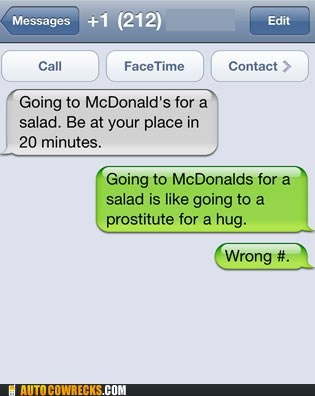 McDonald's,salad,wrong number