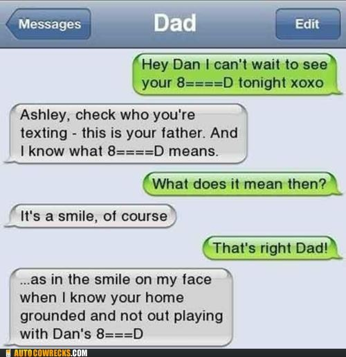 dad,dating,emoticon,fake,p33n,parenting,sex,smile,wrong number