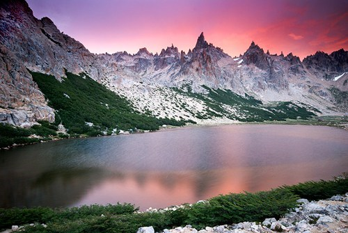 getaways lake morning mountains patagonia pink purple south america sunrise water - 5873140480