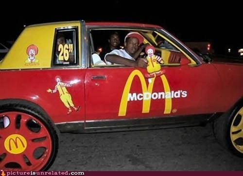 car,McDonald's,rims,Ronald McDonald,wtf