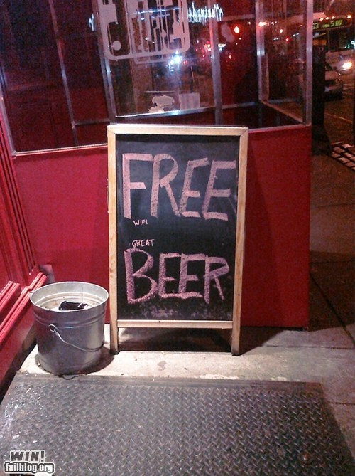 alcohol,bait and switch,beer,chalk,clever,Party,sign