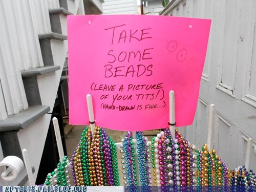 beads bewbs free stuff lady bits Mardi Gras sign - 5873837312