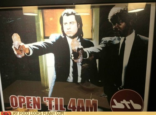 burritos guns john travolta pulp fiction Samuel L Jackson sign - 5874714624