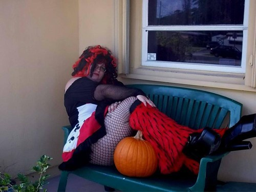 costume,fishnet stockings,halloween,pumpkins