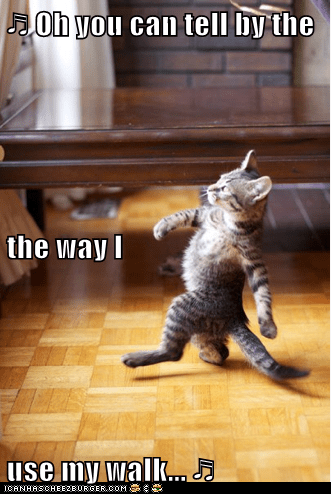 ♬ Oh you can tell by the the way I use my walk... ♬