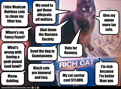 We need to get those alleycats off welfare. Shut down the Humane Society. Give my owner more tax cuts. Vote for Romney. I hire Mexican Hairless cats to clean my litter box. Where's my Fancy Feast? Send the dog to Guantanamo. What's wrong with having a gold-plated food bowl? Black cats are immoral and lazy. My cat carrier cost $11,000. Meow, dahling. I'm rich because I'm better than you.