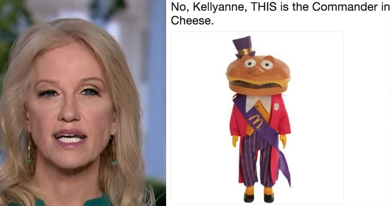 commander of cheese donald trump councelor to the president kellyanne conway politics commander in cheese whoops commander in chief oops - 5877765