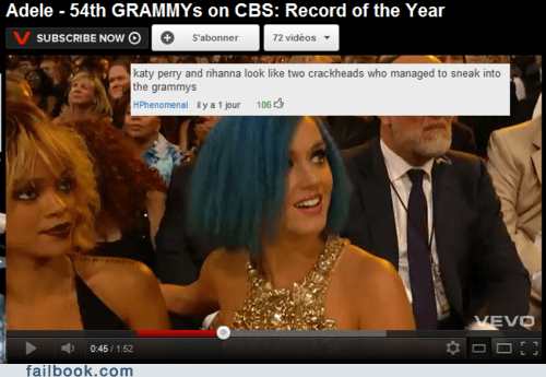 celeb Grammys katy perry rihanna youtube