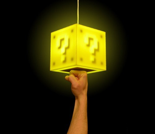 lamp,merch,question block,Super Mario bros,video games