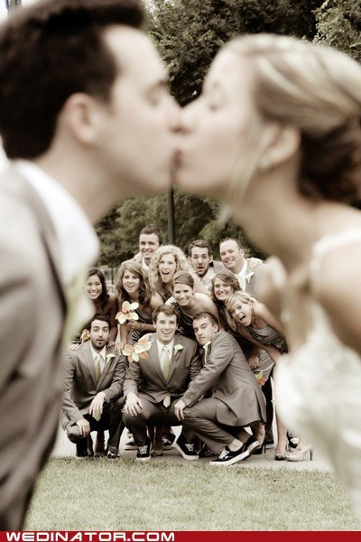 bride,funny wedding photos,groom,KISS,wedding party