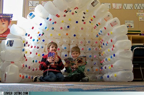 igloo,kids,milk jugs,plastic,recycling