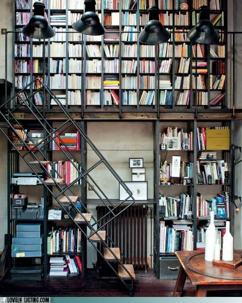 bookcase second story shelves stairs study - 5878475520