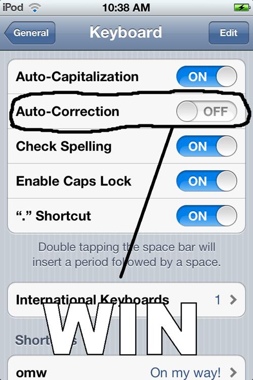 auto correct iphone settings win - 5878701568