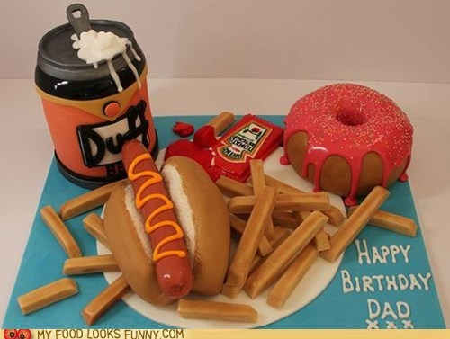 beer birthday cake donut fries hot dog