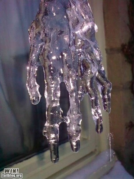 creepy crystal hand ice stalactite - 5879499264