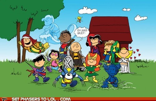 beast,best of the week,charlie brown,peanuts,professor x,snoopy,wolverine,x men