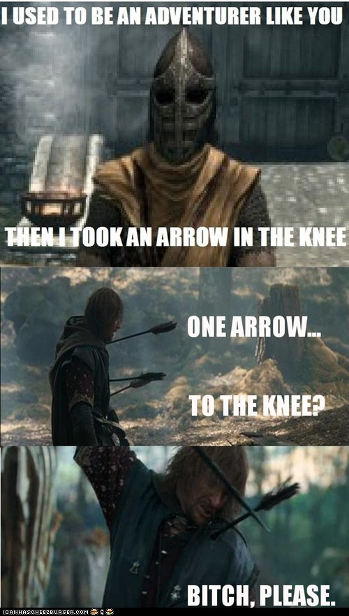 arrow in the knee Boromir guard Lord of the Rings please sean bean Skyrim whiterun