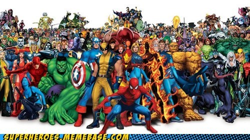 Awesome Art everybody hulk marvel Spider-Man thing wolverine