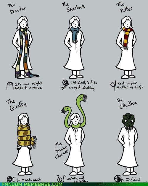 cthulhu,doctor who,Fan Art,Harry Potter,scarf,sherlock holmes