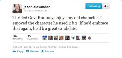 2012 Presidential Race,george costanza,jason alexander,Mitt Romney,seinfeld
