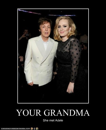 adele celeb demotivational funny Grammys Music paul mccartney - 5882277632