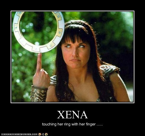 XENA touching her ring with her finger ......