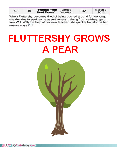 fluttershy grows a pair meme pear tree - 5882357248