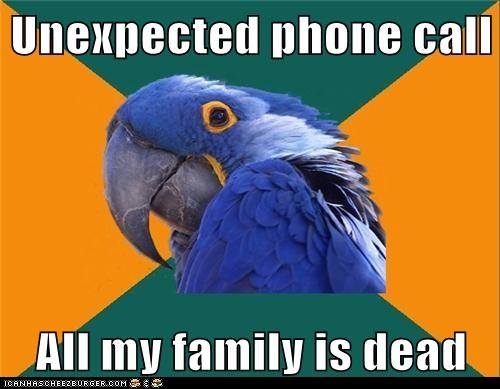 birds,dead,Death,family,paranoid,Paranoid Parrot,parrots,phone calls,phones,unexpected