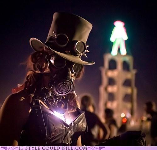 burning man cleavage corset desert gas mask goggles hat light Steampunk - 5883346688
