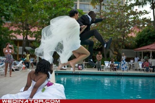 bride,funny wedding photos,groom,jump,pool