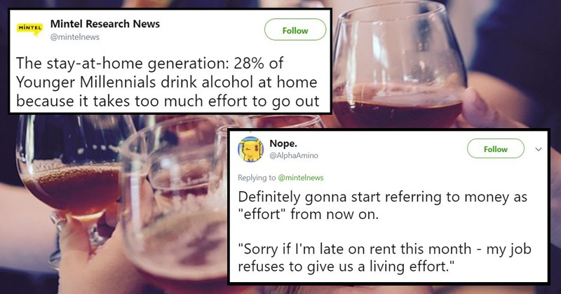 drinking wtf millennials going out to the bars generation gap gen x generations baby boomers too lazy to go out mintel moneyish - 5883397