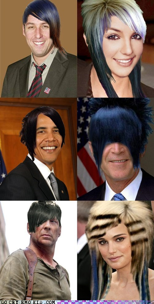 celebities,emo hair,emolulz,famous,photoshop