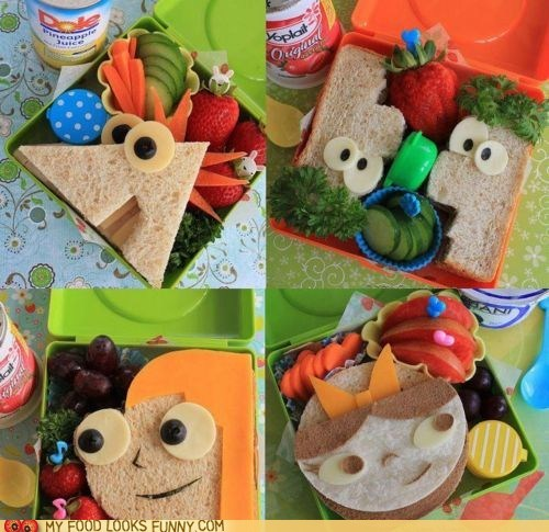 bento cartoons lunch phineas and ferb sandwiches