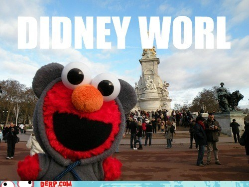 derp,disney world,elmo,excited,puppet